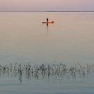 044_TZmN.8215-Lake-Bangweulu-Dawn-Fisherman-&-Canoe-N-Zambia