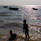 053_TZmN.8153-Lake-Mweru-Boats-&-Children-Bathing-N-Zambia