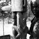 007_CZmA.8803BW-African-Village-Woman-&-Carved-Water-Well